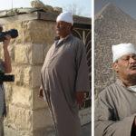 Gerhard Jörén, fotograf som jag rest mycket med, i arbete vid pyramiderna utanför Kairo, Egypten. Till höger den bild som Gerhard tog sekunden efter att han själv fotograferades.