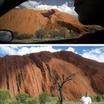 Min profil mot Uluru, så som Gerhard Jörén fångat den. Nedan Gerhard fångad av mig nedanför denna 500 miljoner år gamla sandstensmonolit.