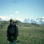 Jag som trekkare på väg mot de spetsiga bergen (vars toppar inlandsisen aldrig slipat ned) i denna häftiga nationalpark i Patagonien.