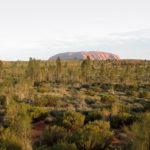 Solen går ned över Uluru, även kallat Ayers Rock, i centrala Australien. En helig plats enligt aboriginerna och en del av Unescos världsarv.